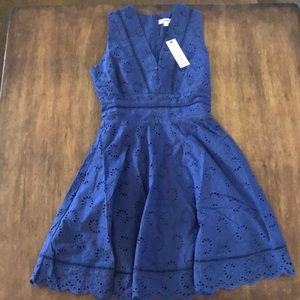 NWT BB DAKOTA SIZE 0 XS EYELET FITTED DRESS BLUE